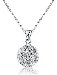 Fajewellery 925 Argent Shamballa perle boule de cristal collier pendentif pour les femmes