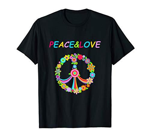 Friedenszeichen Für Erwachsenen Kostüm - Peace Love Shirt Hippie Kostüm 60s