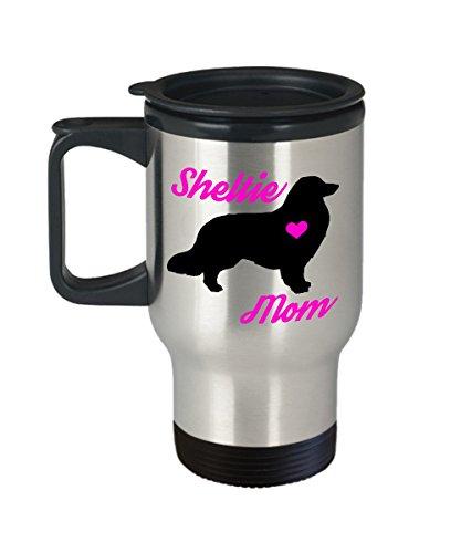 Sheltie Mom Reisebecher, tragbar, isoliert Shetland Sheepdog Kaffeetasse mit Henkel & Deckel-Best Christmas Geschenk Idee für Frauen Hund-Neuheit Pet Zitat Statement Zubehör