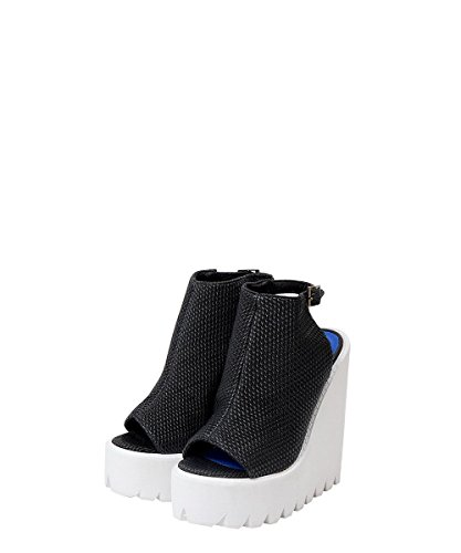 Jeffrey Campbell Barclay Black Embossed - Zeppa Da Donna Nere e Bianche Black