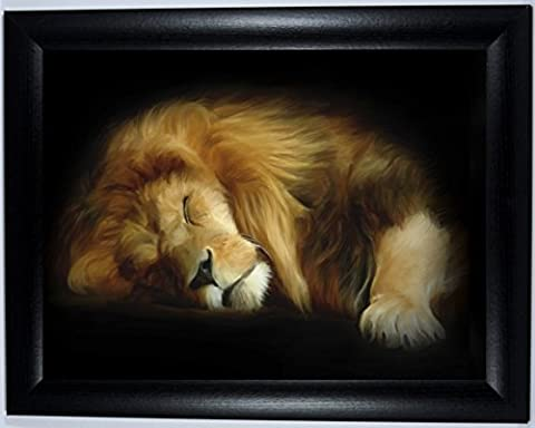 BLACK FRAMED Lion 10 x 8 inches Giclee Print, in a Canvas-Painting-Style, Limited Edition, Comes Ready Framed, Frame Measures 11x9