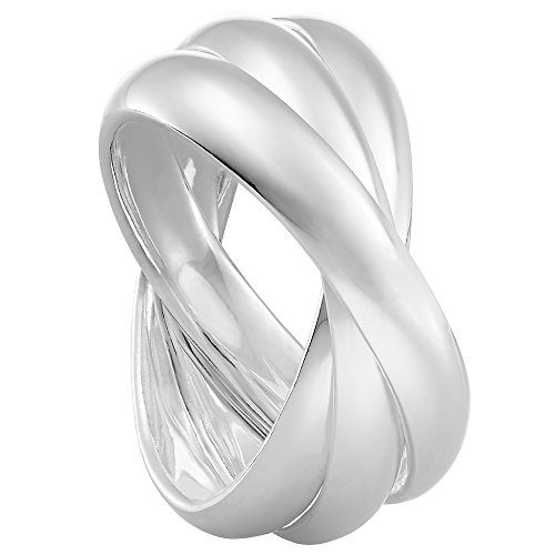 Vinani 3er Ring Wickelring massiv glänzend 3 Ringe beweglich Sterling Silber 925 Dreierring Größe 62 (19.7) 2R3A-62