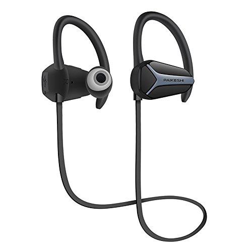 Jogging Bluetooth Kopfhörer Sport-drahtloser Kopfhörer V4.1Noise Annullieren Sweatproof Headset mit Mikrofon Ohr Haken Wasserdichte HD Stereo Ohrhörer für Gym Running Jogging(schwarz)