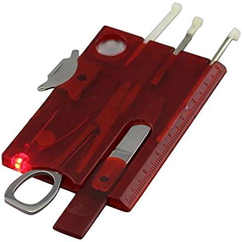 Coltellini Svizzeri,Hipsteen Multifunzionale Swisscard Carta di Credito per Campeggio Tascabile Utensile con 13 Funzioni - Rosso - Guida Tascabile Sopravvivenza