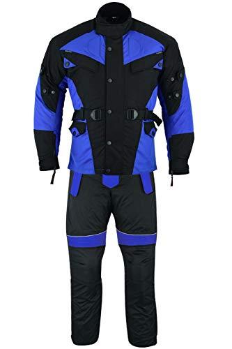 German Wear 2-teiler Motorradkombi Cordura Textilien Motorradjacke + Motorradhose, 58/3XL, Blau