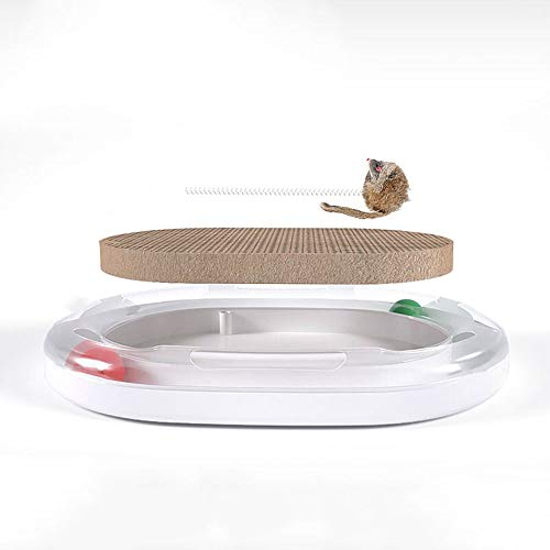 WEAO Multifunktions-Katzenkratzbrett Kätzchen-Spielzeug Orbital-Ball Katzenkratzbrett-Frühlings-Ratte Katzenminze Katze-Drehscheibe Schleifen Klaue Rest Spielen Sie Drei-In-Eins-Gehirn-Spiel -