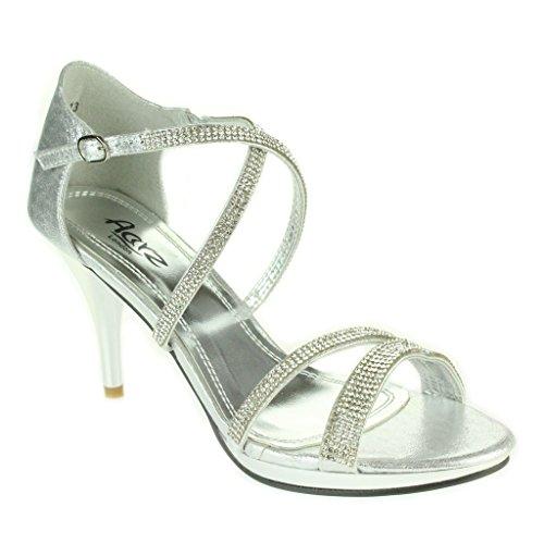 Partito Sandali Cristallo Nuziale Delle Scarpe Di Signore Nozze Promenade Diamante Donne Di D'argento Del Di Sera Tacco Delle Alto Dimensioni Stiletti Iw4q6rI