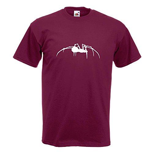 KIWISTAR - Spinne Spider Silhouette T-Shirt in 15 verschiedenen Farben - Herren Funshirt bedruckt Design Sprüche Spruch Motive Oberteil Baumwolle Print Größe S M L XL XXL Burgund