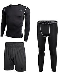 Niksa Fitness Palestra Completi sportivi da uomo Abbigliamento Sportivo,compressivo Maglie e T-shirt Pantaloni Collant a Compressione Vestiti Set 3 pezzi,per Sports Running corsa pallacanestro Jogging(Long Sleeve(163515),M)