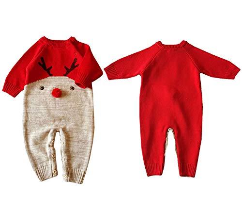 Amooy Dizi Weihnachten Outfits Baby Strampler Säugling Stricken Spielanzug Neugeboren Overall