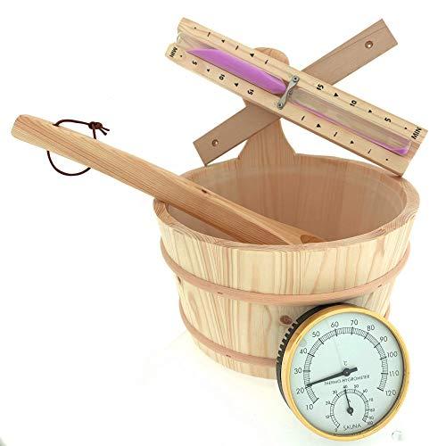 Dewello Holz Aufgussset Saunaset 4-teilig, Lieferumfang:Eimer&Kelle&Sanduhr&Thermometer