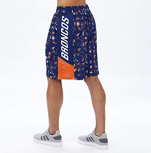 Zubaz Herren Teamcolor Shorts NFL, Herren, NFL Denver Broncos Team Color Grid Shorts, Md, Marineblau/orange, Medium