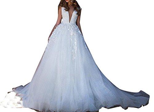 VIKEBRIDAL Damen V-Ausschnitt Ärmellos Tüll Rückenfrei Brautkleid mit 3D Blume Weiß 48
