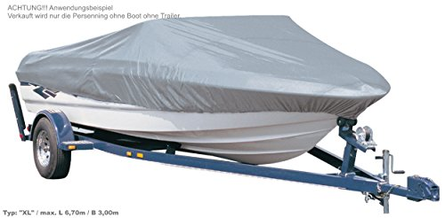 EXCOLO Persenning Winter-Abdeckung Schutz XL/max L 6,70m / B 3,00m Plane für Sportboot Motor-Boot Haube in grau