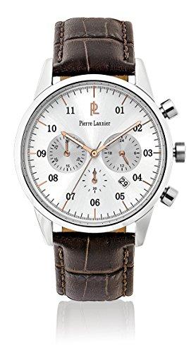 Pierre Lannier-223D124, Week End Vintage-Reloj de pulsera con cronógrafo, para hombre cuarzo, analógico, correa de cuero, color marrón
