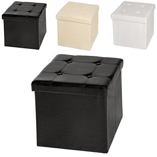TecTake 38x38x38 cm Faltbarer Sitzhocker Aufbewahrungsbox Sitzwürfel mit Stauraum Kunstleder schwarz