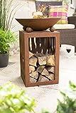La Hacienda 58265 Ochiba Feuerstelle mit Ständer aus oxidiertem Stahl, Natur rostet,