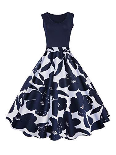 DIDK Damen 50s Vintage Rockabilly Kleid, Schwingen Knielang Faltenrock mit Blumenmuster Kleider Blau 2XL