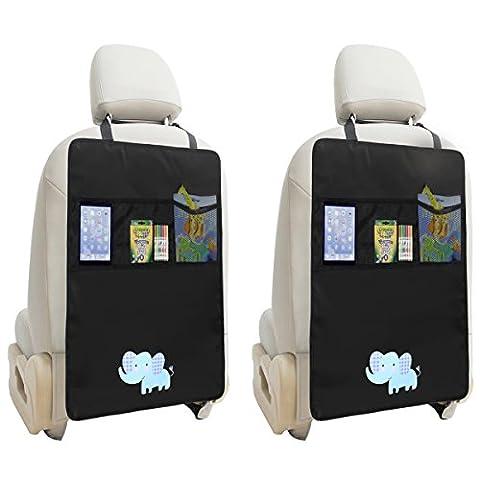 NuoYo Rücksitz Organizer,Rücksitztasche Kinder,Kickmatte Auto,Wasserdicht,Schmutzabweisend Hohe,Qualität,Passend für Die Meisten Sitze,2 Stück,Schwarz (Elefant)