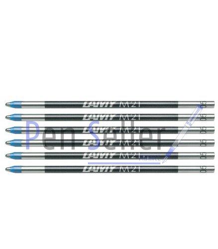 Lamy: Mini-Kugelschreibermine M21: Farbe: blau, Strichbreite: M, 6er-Set. Für Multipen Lamy, Parker, Rotring.