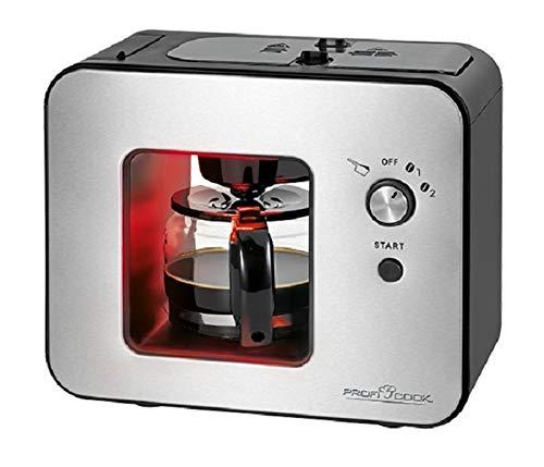 Kaffeemaschine mit Mahlwerk Glaskanne 0,5 Liter Edlestahl (900 Watt, Kaffeeautomat 5 Tassen, Warmhalteplatte, Schwarz)