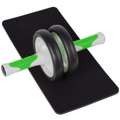 Ultrasport Aparato de abdominales AB Roller para mujeres, para fitness, musculación y pérdida de peso en el abdomen, las piernas y los glúteos; rodillo para abdominales AB con superficie de apoyo para las rodillas y manual de ejercicios, Verde