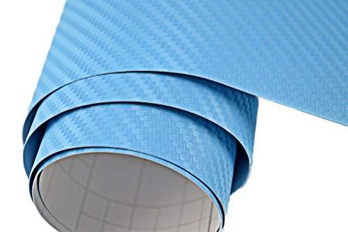 Neoxxim 12,00€/m2 Premium - Auto Folie - 3D Carbon Folie - HELL BLAU 200 x 150 cm - blasenfrei mit Luftkanälen ca. 0,16mm dick
