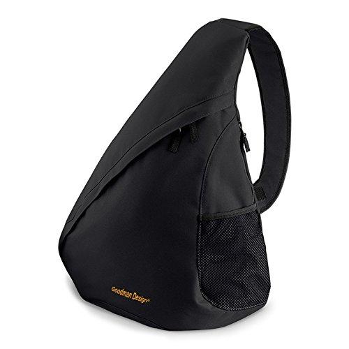 Bag Messenger Hipster Crossbody (Moderner Messenger Dreieck-Rucksack, Umhängetasche, Body Bag, Crossover Sling Bag Farbe: Schwarz - Goodman Design ®)