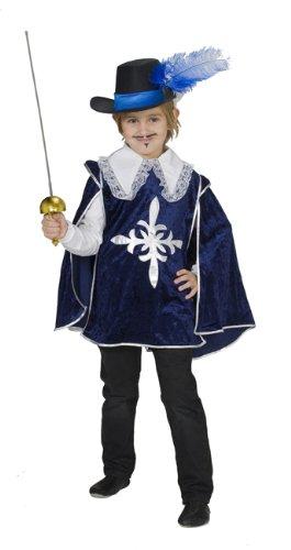 Kinder Für Musketiere Kostüm (Musketierkostüm Kostüm Musketier Musketiere blau samt Gr. 104, 116, 128, 140, 152, 164,)
