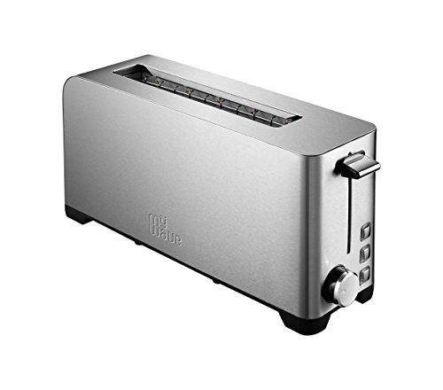 MyWave Ceylan - Tostadora de 1 Ranura Amplia 1050 W, todo tipo de pan, 3 funciones, Regulador del tostado, Acero Inoxidable - Gris