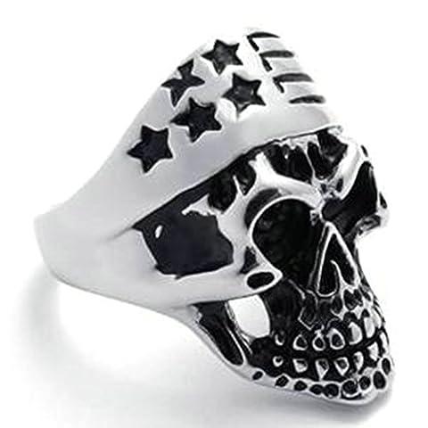 KnSam Men Stainless Steel Band Rings Skull Star Comfort Fit Black Silver Size T 1/2 [Novelty Ring]