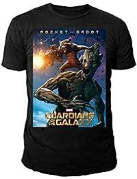 Marvel Comics - Guardians of the Galaxy Herren T-Shirt - Rocket & Groot Plakat (Schwarz) (S-XL)