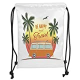 Drawstring Backpacks Bags,Surf Decor,Retro Surf Van with Palms Camping Relax Hippie...