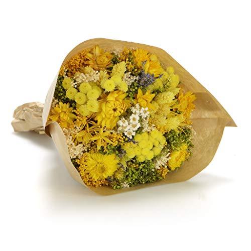 Bouquet fantasy (giallo) sanremo fiori essiccati dalla riviera dei fiori - realizzato a mano