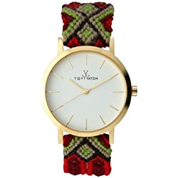 Toywatch Maya Women's Quartz Watch with White Dial Analogue Display and Red Strap MYW05GD - 0.94.0059
