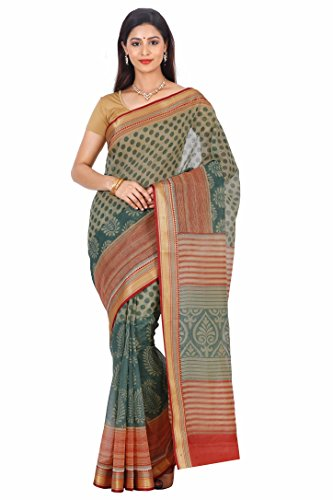 Urban Vastra Orange-Green Polka Dot Gadwal Cotton Traditional Saree ( 20573RRGD )  available at amazon for Rs.599