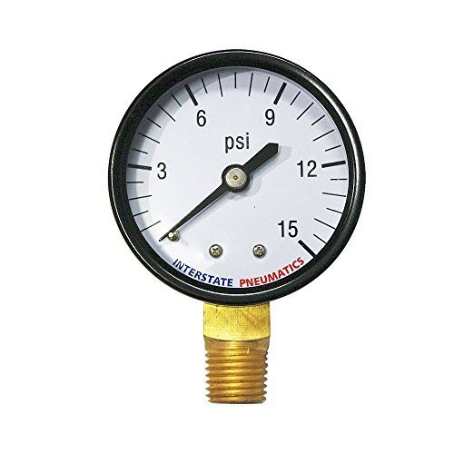 Interstate Pneumatics G2012-015 2 Inch 15 PSI - 1/4 Inch NPT Bottom Mount Pressure Gauge by Interstate Pneumatics (Bottom Npt Mount)