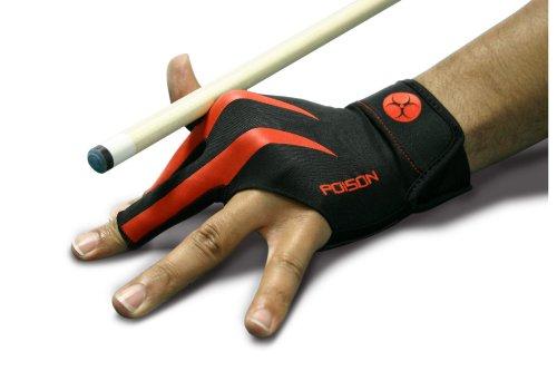 Handschuh Poison, 3-Finger, schwarz-rot, L&XL