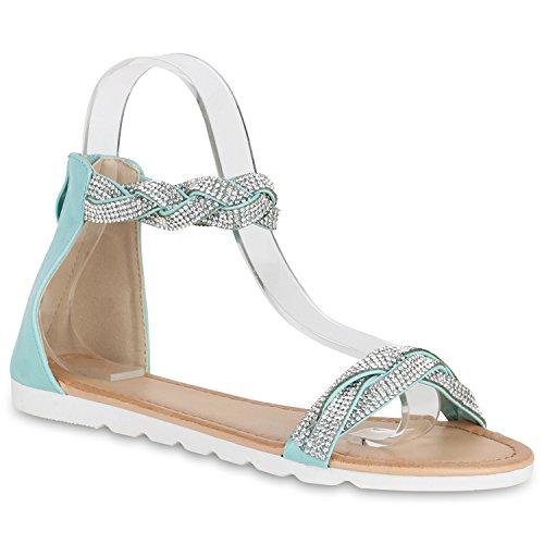 Senhoras Sandálias Confortáveis sandália Metálica Sapato Confortável Único Perfil Turquesa Steinchen Camiri