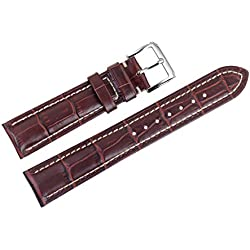 22mm Brown Luxury Italian Leather Replacement Watch Straps/Bands Handmade Padded White Contrast Stitching
