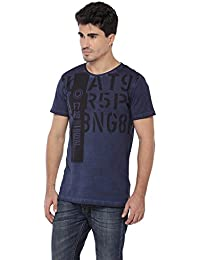 LNDN HOUR Half Sleeves New DIVINE Stylish Chest Print, Round Neck Cotton Tshirt, Latest High Quality Fashion Garments For Mens/Boys. Dark BlueColour