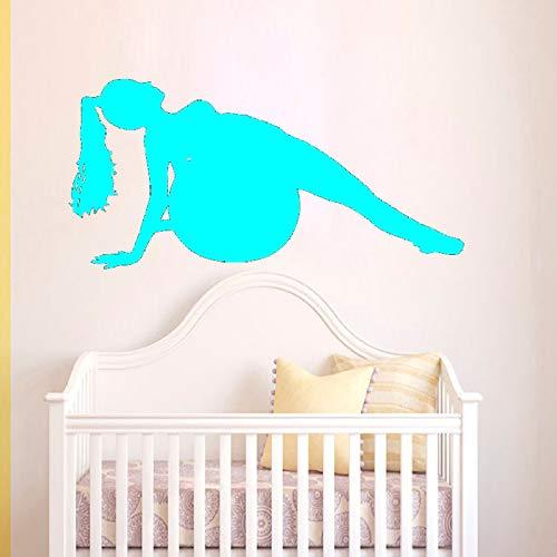 Ajcwhml Adesivo murale Silhouette Donna Palla Fitness Allenamento Palestra Sport Uomo Adesivo da Parete in Vinile Soggiorno Decorazioni per la casa 118cmx59cm