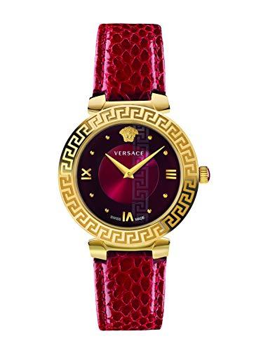 Versace Damen-Armbanduhr Schweizer Quarz mit rotem Lederband IP Gold Daphnis V16080017