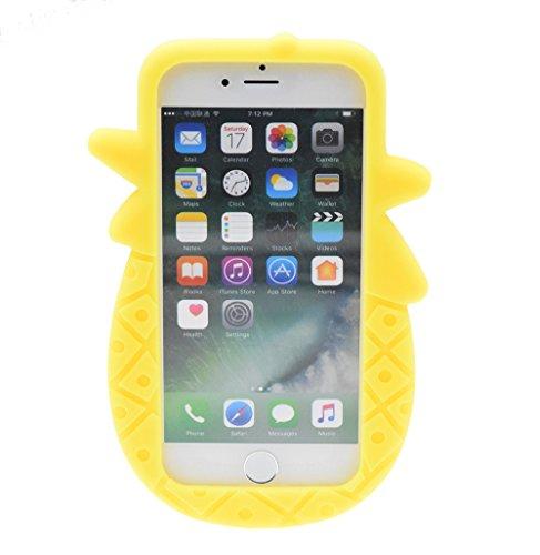 """iPhone 7 4.7"""" Hülle, BENKER Hochwertig Schlagfeste und Kratzfeste Weich Silikon Kreativ 3D Cartoon Telefon Fall - Regenbogen Ananas 2#"""