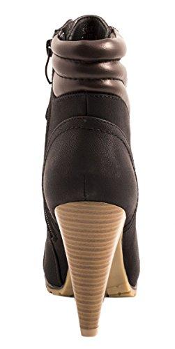 Elara Damen Stiefeletten | Stiefel Trichterabsatz | Lederoptik Noir
