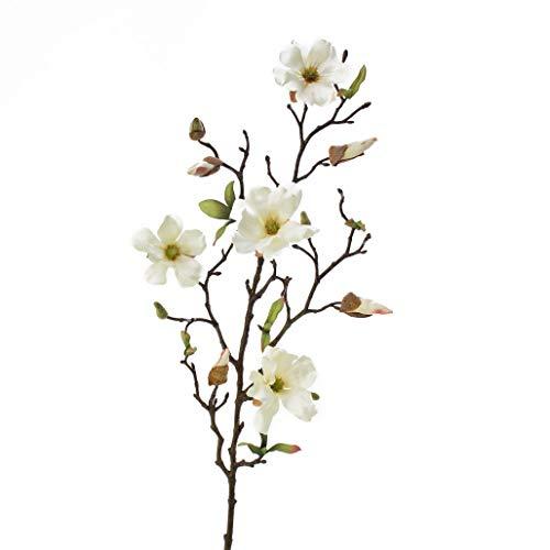 artplants.de Kunstblume Magnolienzweig LILO, 4 Blüten, Knospen, Creme - weiß, 75cm - Seidenblumen Magnolie - Kunstzweig