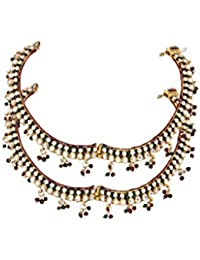 VAMA FASHIONS Pair Of Gold Plated Payal /Pajeb / Anklet With CZ / Polki And Semi Precious Stones ONLINE SHOPPING... - B01FDM2G2E