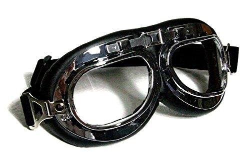 occhiali-da-moto-nero-trasparente-cromato-di-plastica-finta-pelle
