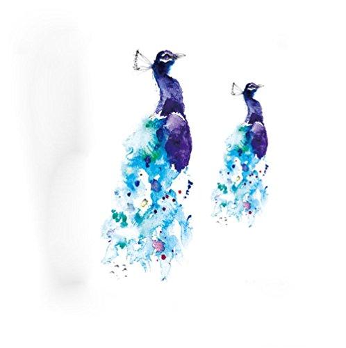 Preisvergleich Produktbild pengweiWasserdichte Persnlichkeit Pfau blaue Blume Arm Tattoo Aufkleber