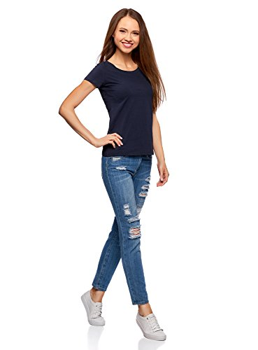 oodji Ultra Donna T-Shirt Basic in Cotone Blu (7900N)